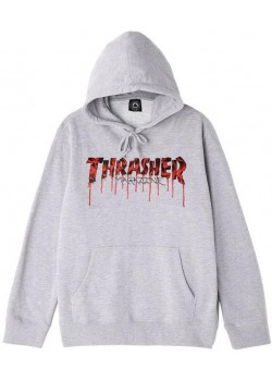 Thrasher Blood Drip Hoodie - Ash heather