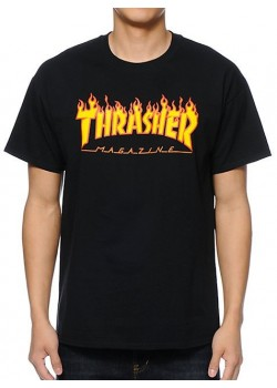 Thrasher Tee Flame Logo - Black