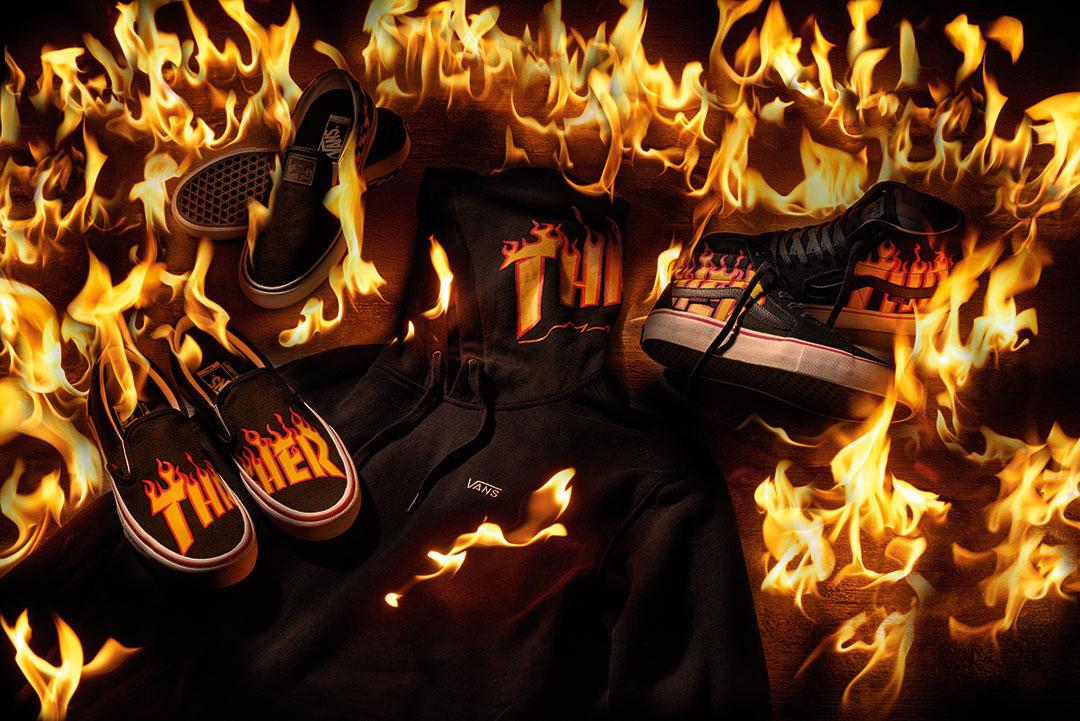 ad58e69cfc6 Vans commemorates the ubiquitous Thrasher flame logo